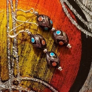 Islamic Prayer Bead Earrings Black Coral Turquoise